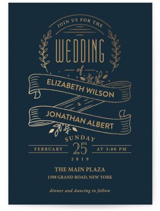 Golden Celebration Foil-Pressed Wedding Invitations