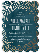 Midnight Foliage Foil-Pressed Wedding Invitations