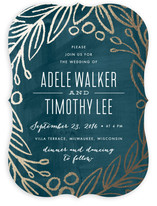 Midnight Foliage Foil-Pressed Wedding Invitations