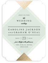 Modern Angle Foil-Pressed Wedding Invitations