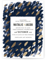 Midnight And Gold Foil-Pressed Wedding Invitations