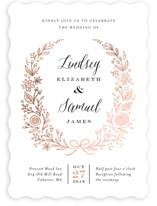 Painted Wreath Foil-Pressed Wedding Invitations