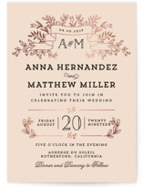 Wedding Bouquet Foil-Pressed Wedding Invitations