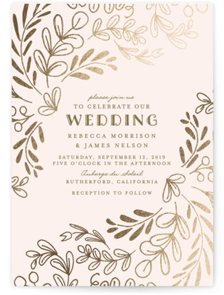 Wedding Vines Foil-Pressed Wedding Invitations