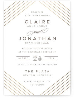 A Golden Age Foil-Pressed Wedding Invitations