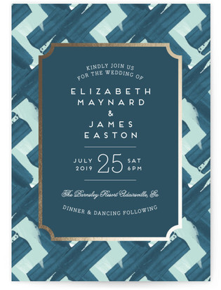 Gallery Label Foil-Pressed Wedding Invitations