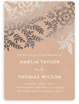 Leaves and Kraft Foil-Pressed Wedding Invitations