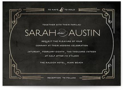Foxtrot Frame Foil-Pressed Wedding Invitations