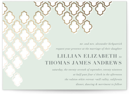 Foiled Arabesque Foil-Pressed Wedding Invitations