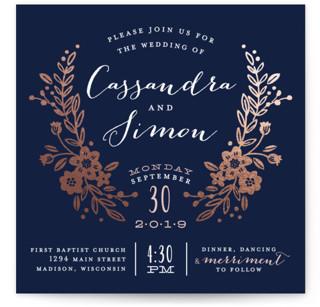 Wildflower Crest Foil-Pressed Wedding Invitations