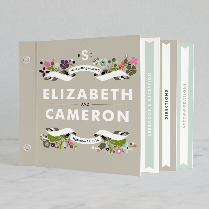 """""""Banner and Branches"""" - Rustic, Floral & Botanical Minibook Wedding Invitations in Soft Beige by Alethea and Ruth."""