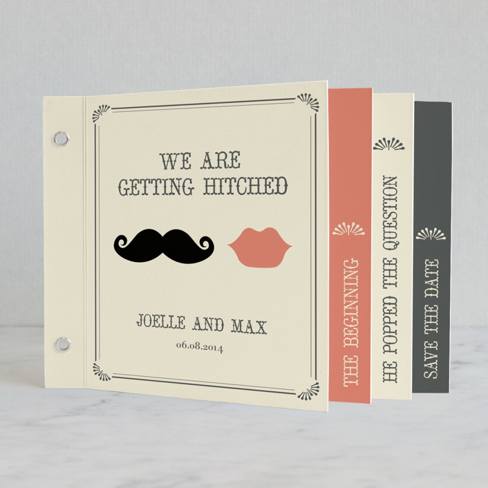 """""""Stache + Kiss"""" - Vintage, Whimsical & Funny Minibook Wedding Invitations in Cream by Penelope Poppy."""