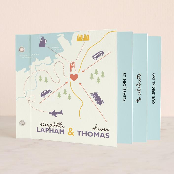 """Destination"" - Whimsical & Funny, Modern Minibook Wedding Invitations in Lilac Haze by leslie hamer."