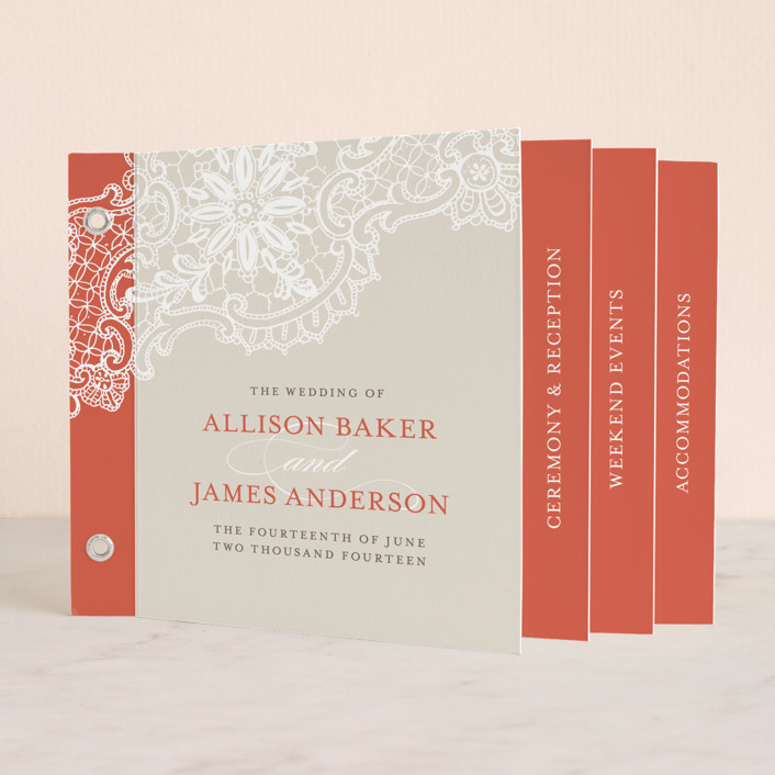 """White Lace"" - Classical, Formal Minibook Wedding Invitations in Coral Rose by Lauren Chism."