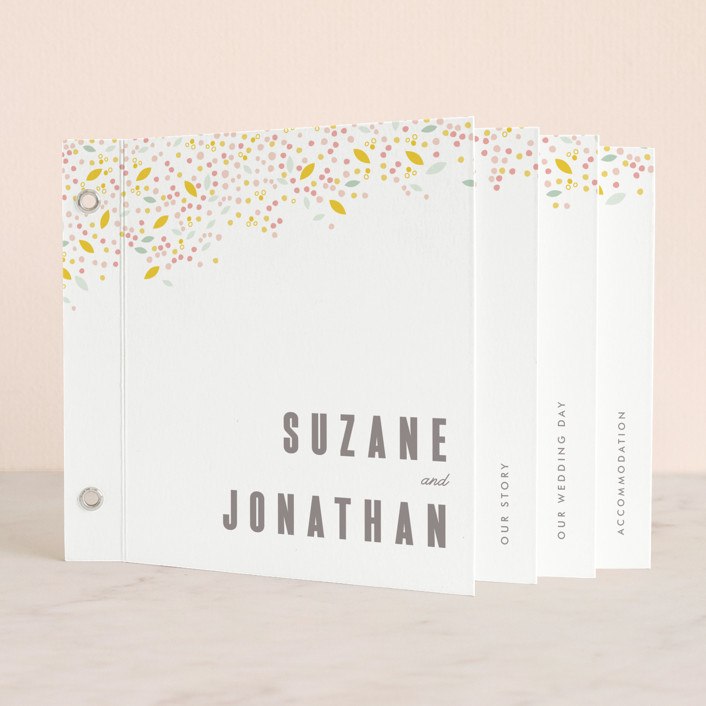 """""""Modern Dotted Blooms"""" - Floral & Botanical, Simple Minibook Wedding Invitations in Cinerescent by Phrosne Ras."""