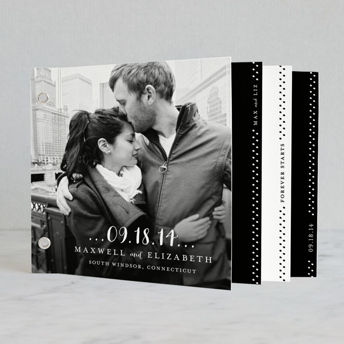 """Simple Type"" - Modern, Classical Minibook Wedding Invitations in Black by roxy."