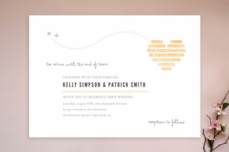 Honeycomb Heart Wedding Invitations