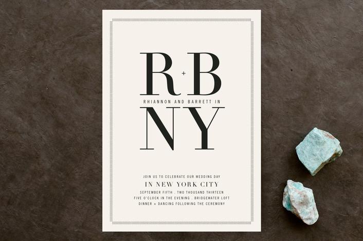 """""""Stately"""" - Bold typographic, Monogrammed Wedding Invitations in Tuxedo by Jody Wody."""