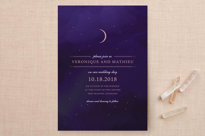 """""""Luna"""" - Modern Wedding Invitations in Midnight by Jody Wody."""