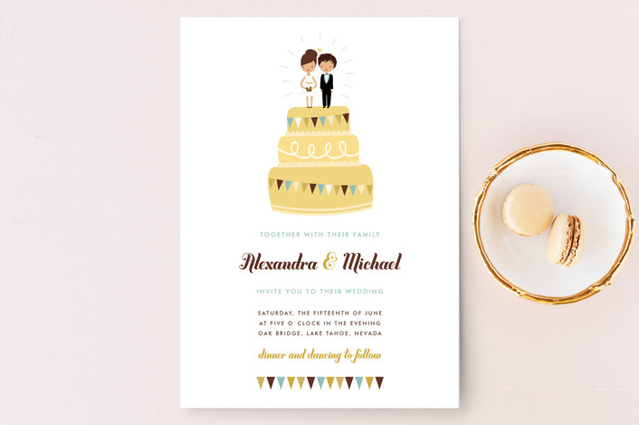 """Cake Toppers"" - Whimsical & Funny Wedding Invitations in Canary by Zory Mory."