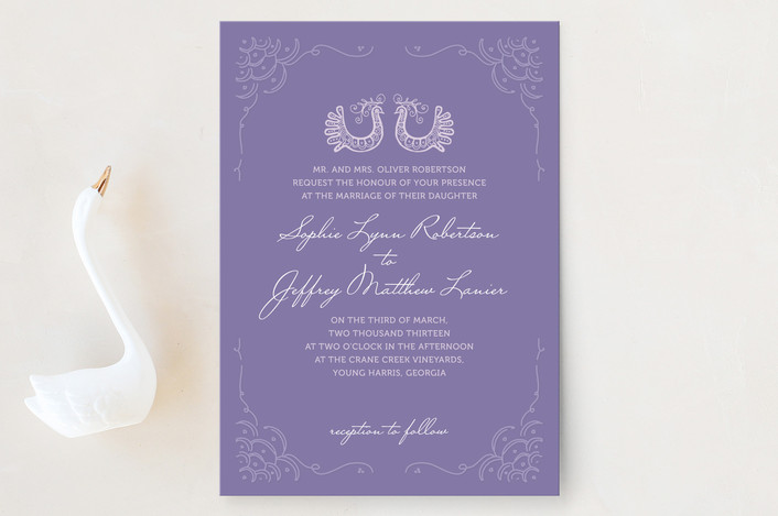 """""""Whimsical Peacock"""" - Classical Wedding Invitations in Lavender by Ksenia Phillips."""
