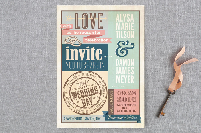 """""""Eclectic"""" - Bold typographic, Rustic Wedding Invitations in Pink Rose by cadence paige design."""