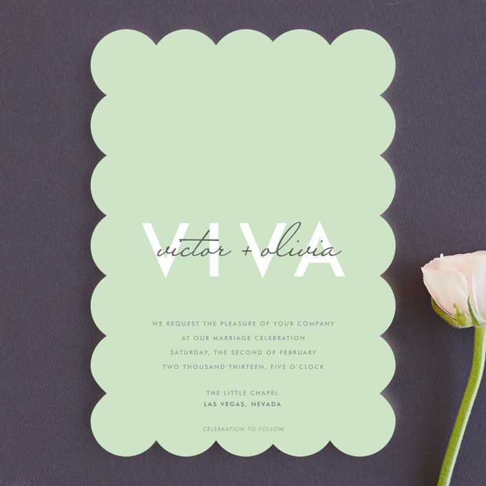 """""""Viva Las Marriage"""" - Simple, Bold typographic Wedding Invitations in Soft Leaf by Candice Leigh."""