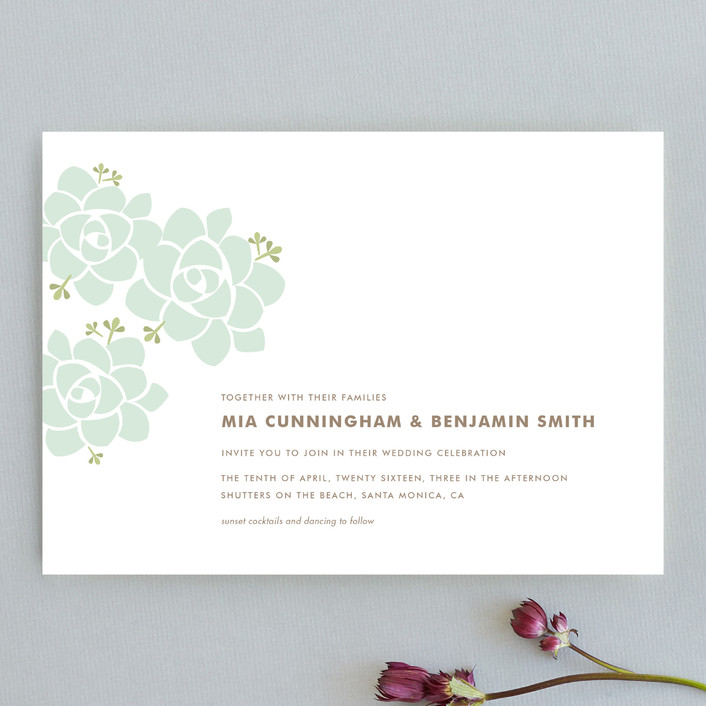 """""""Sunday Succulent"""" - Floral & Botanical, Simple Wedding Invitations in Sea Mist by Carolyn MacLaren."""