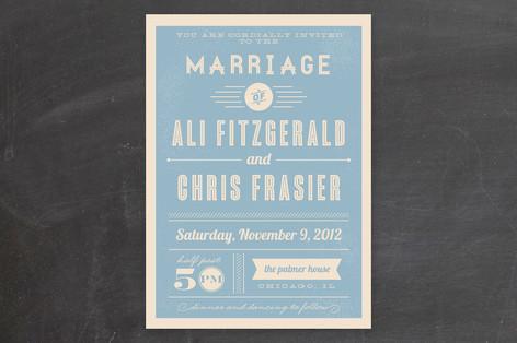 Vintage Retro Type Wedding Invitations