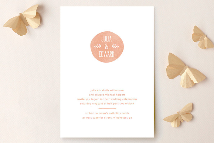 """Sweet Stamp"" - Modern, Simple Wedding Invitations in Coral by Laura Hankins."