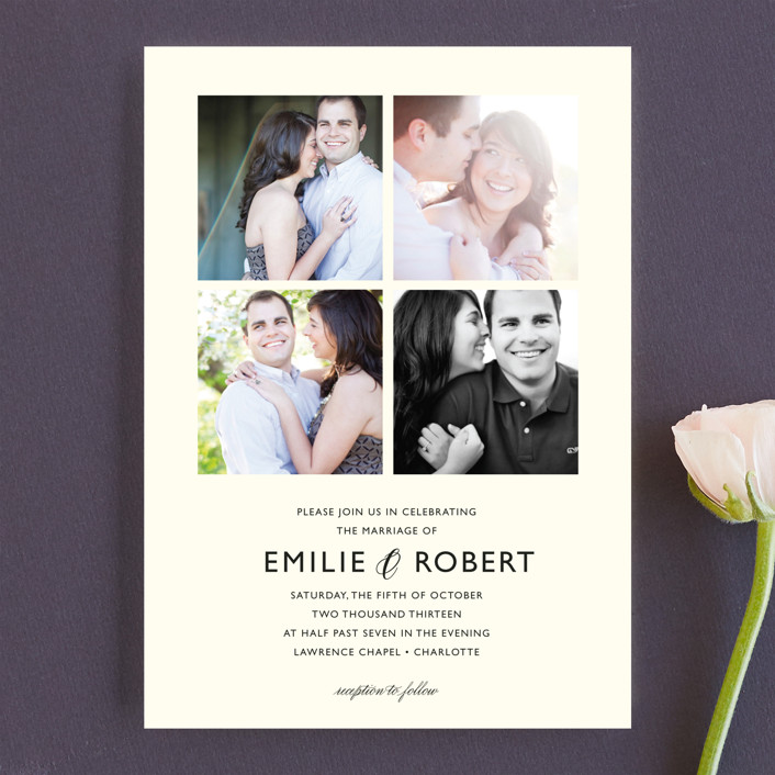 """Moments Captured"" - Simple Wedding Invitations in Ivory by Carrie Eckert."