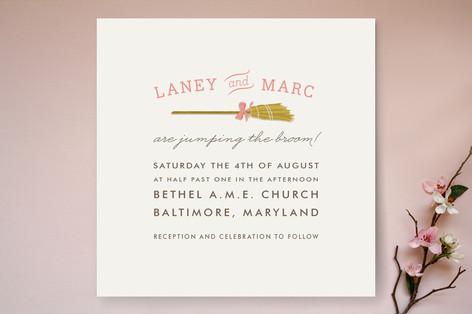 Simple Broom Wedding Invitations