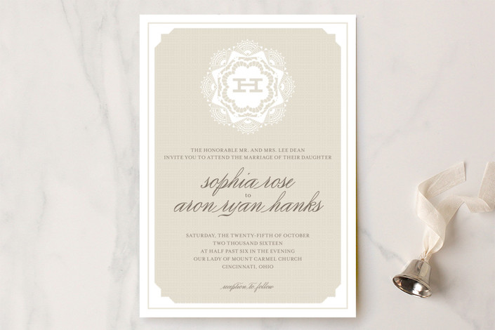 """Grand Lace"" - Classical, Monogrammed Wedding Invitations in Cappucino by Carrie ONeal."
