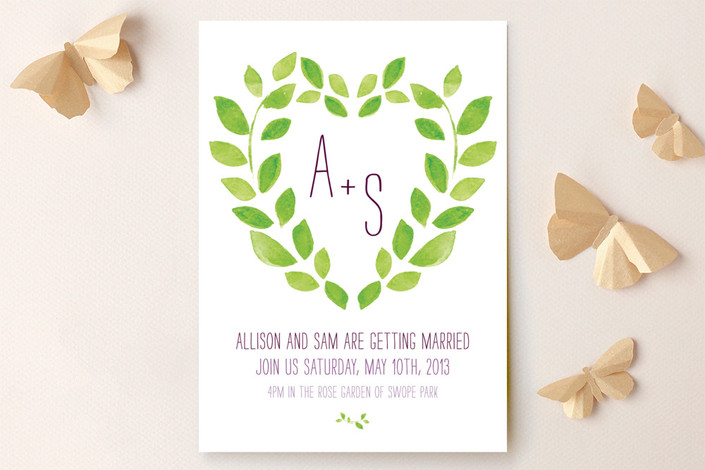 """""""Sweet Garden"""" - Monogrammed Wedding Invitations in Amethyst by Max and Bunny."""