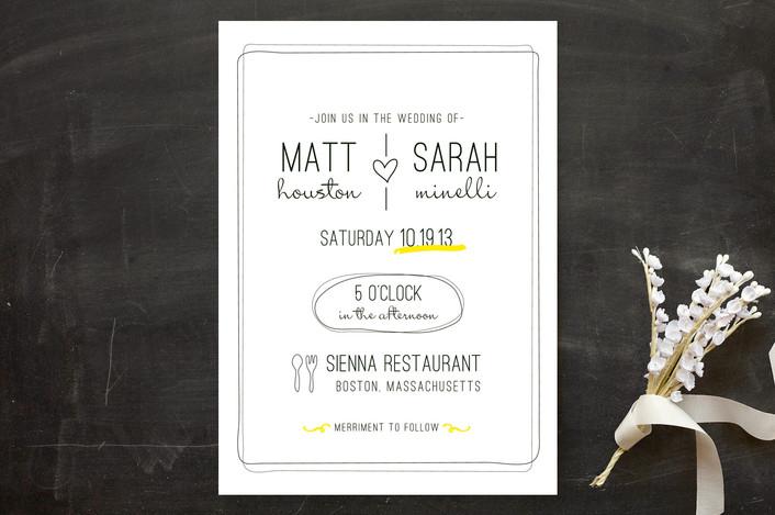 """Bistro"" - Bold typographic, Modern Wedding Invitations in Lemon by chocomocacino."