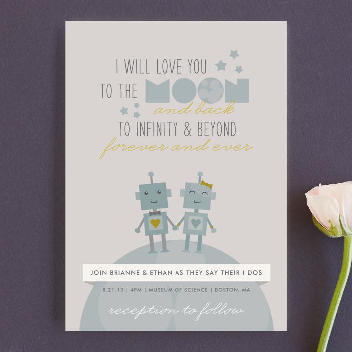 """Infinity & Beyond"" - Whimsical & Funny, Modern Wedding Invitations in Slate by Dawn Jasper."