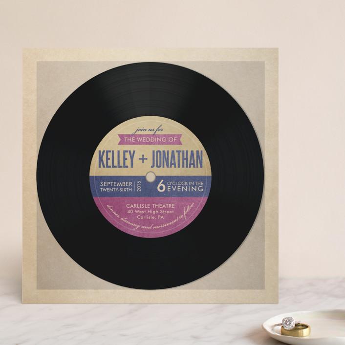 """Wedding Vinyl"" - Vintage, Whimsical & Funny Wedding Invitations in Purple Jelly by Dawn Jasper."