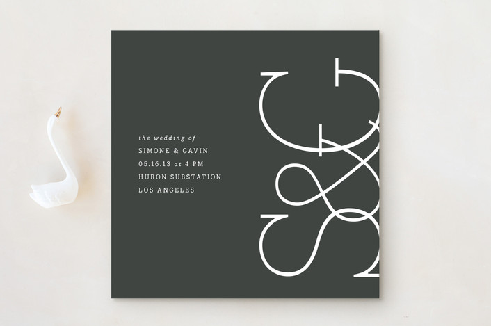 """""""Sleek Chic"""" - Modern, Preppy Wedding Invitations in Charcoal by Erin Pescetto."""