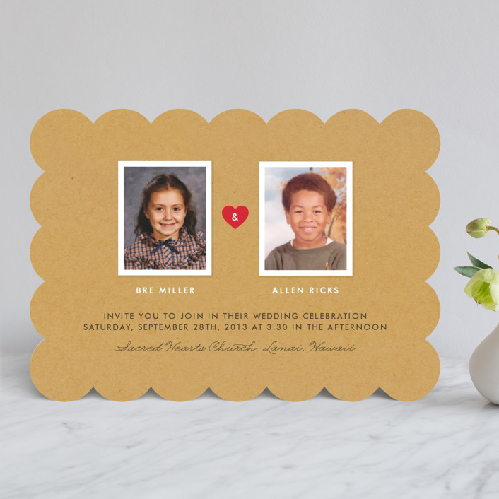 """""""Textbook Love Story"""" - Simple, Whimsical & Funny Wedding Invitations in Kraft by root beer float."""