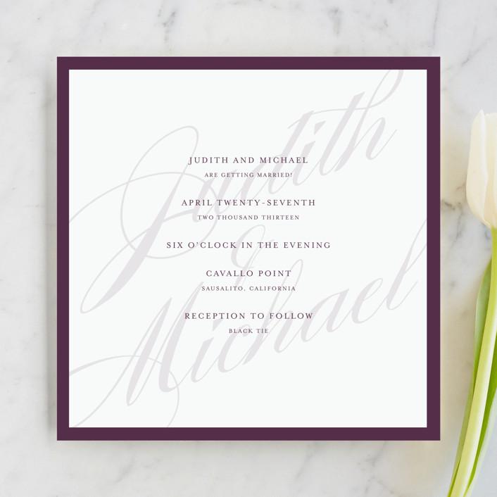 """Framed"" - Elegant, Simple Wedding Invitations in Plum by roxy."