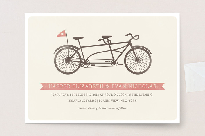 """""""Tandem"""" - Vintage Wedding Invitations in Sweet Peach by Snow and Ivy."""