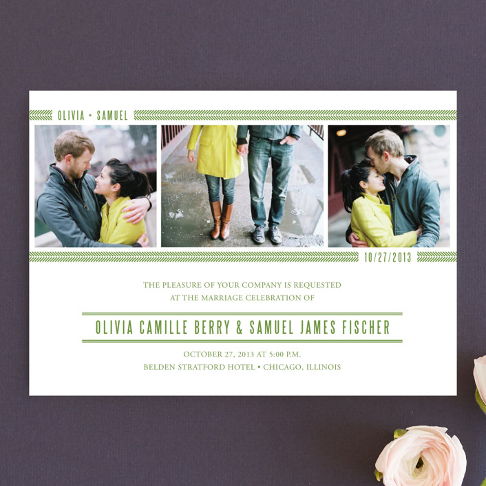 """Metro Green Line"" - Modern Wedding Invitations in Apple Green by sarasponda."
