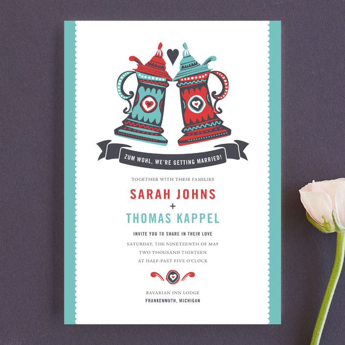 """""""German Stein Toast"""" - Whimsical & Funny, Destination Wedding Invitations in Turquoise by Casey Fritz."""