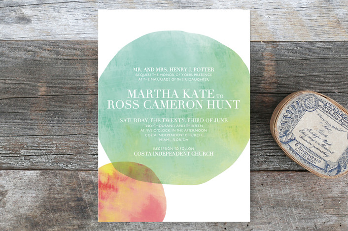 """""""Watercolor Dots"""" - Modern, Simple Wedding Invitations in Aqua by Stacey Day."""