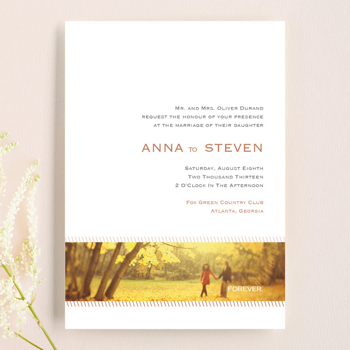 """""""Forever Panoramic"""" - Simple, Modern Wedding Invitations in Mocha by Stacey Meacham."""