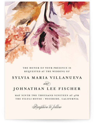 Grecian Floral Wedding Invitations