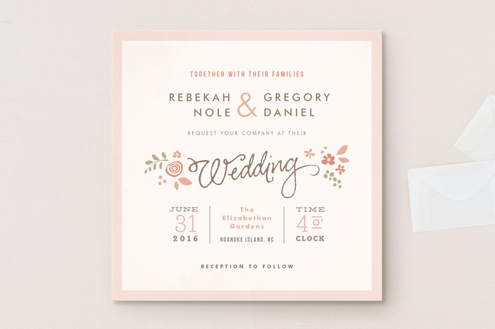 """""""Pink Blossoms"""" - Floral & Botanical Wedding Invitations in Blush by Jennifer Wick."""