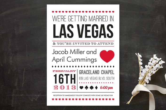 """""""Vegas Type"""" - Bold typographic, Destination Wedding Invitations in Queen of Hearts by Elaine Stephenson."""
