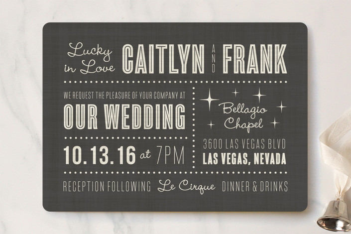 """Lucky in Love"" - Bold typographic, Destination Wedding Invitations in Charcoal by Susan Asbill."