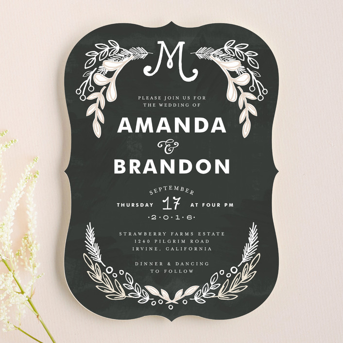 """""""Chalkboard"""" - Vintage, Floral & Botanical Wedding Invitations in Charcoal by Alethea and Ruth."""